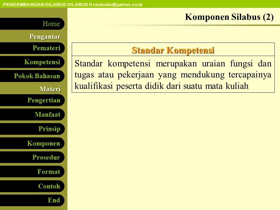 Komponen Silabus (2) Standar Kompetensi.