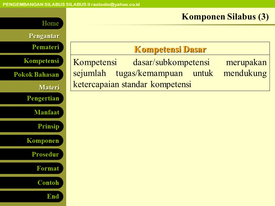 Komponen Silabus (3) Kompetensi Dasar.