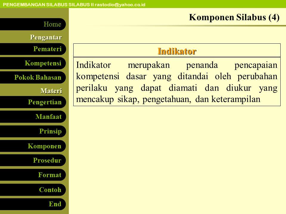 Komponen Silabus (4) Indikator.