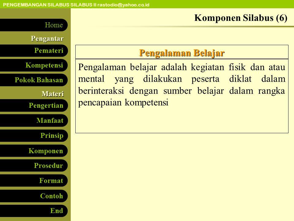 Komponen Silabus (6) Pengalaman Belajar.