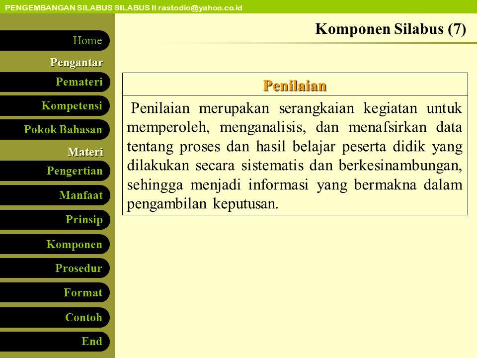 Komponen Silabus (7) Penilaian.