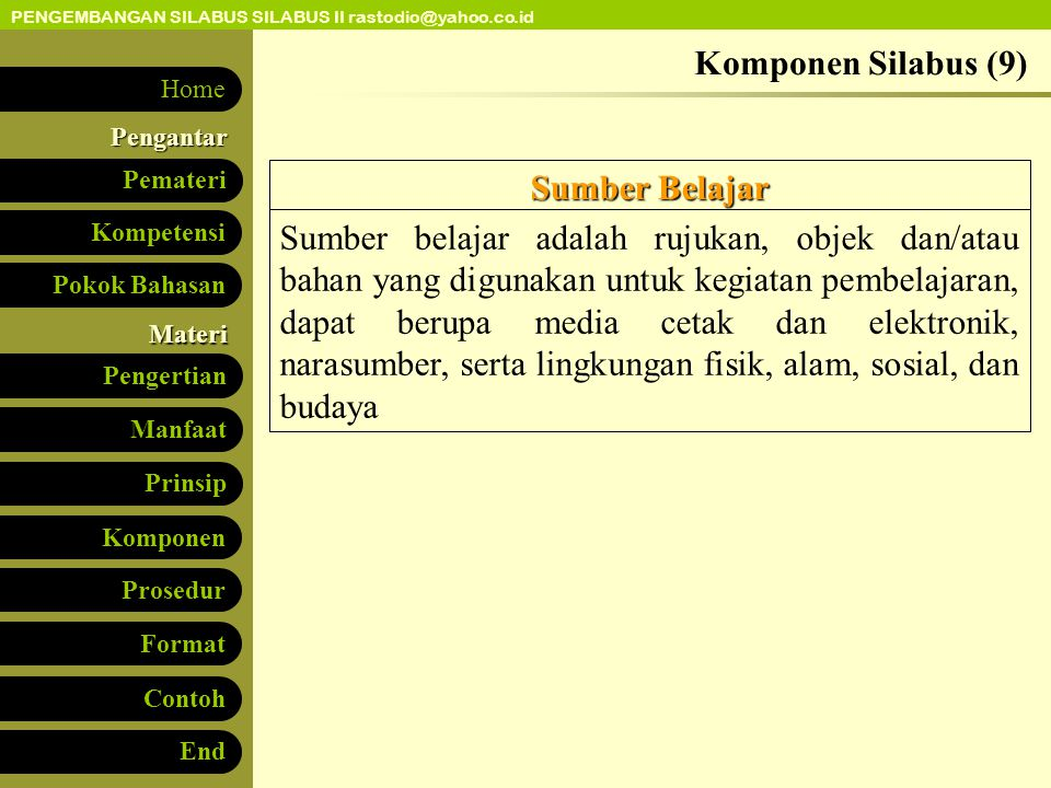 Komponen Silabus (9) Sumber Belajar.