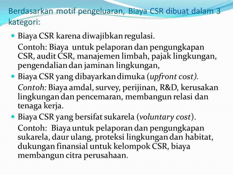 Berdasarkan motif pengeluaran, Biaya CSR dibuat dalam 3 kategori: