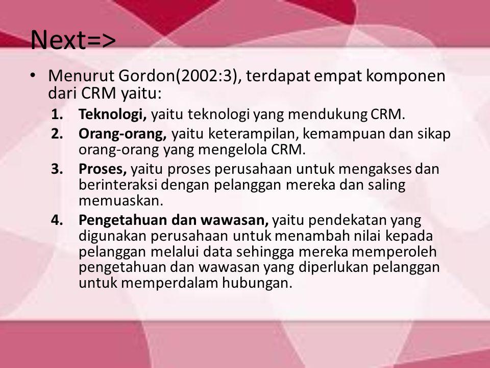 Next=> Menurut Gordon(2002:3), terdapat empat komponen dari CRM yaitu: Teknologi, yaitu teknologi yang mendukung CRM.