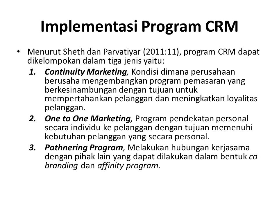 Implementasi Program CRM