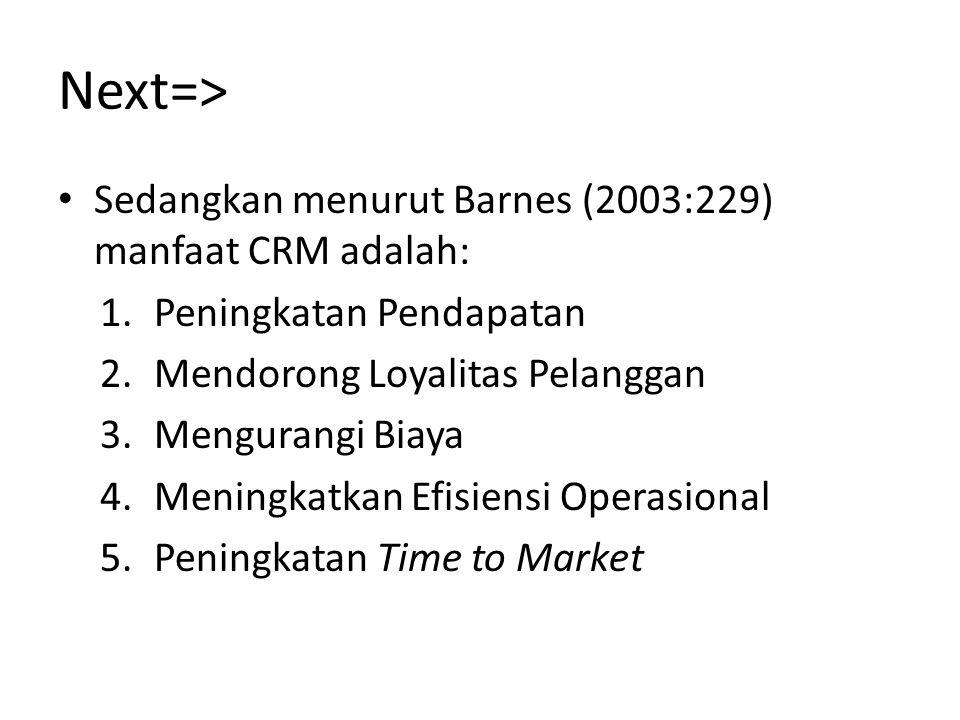 Next=> Sedangkan menurut Barnes (2003:229) manfaat CRM adalah: