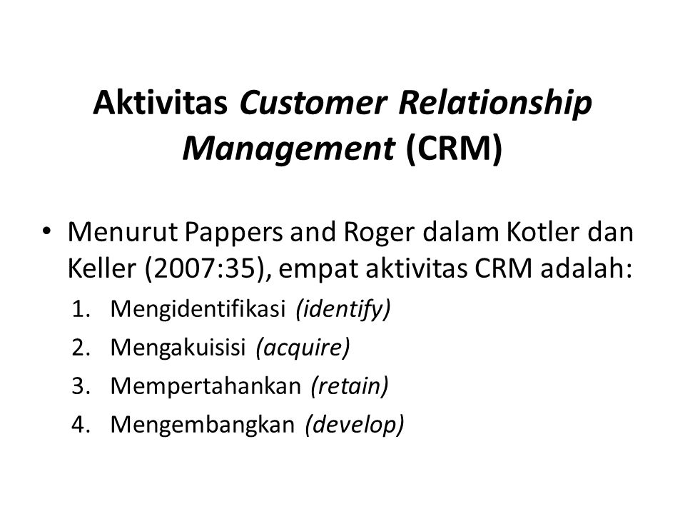 Aktivitas Customer Relationship Management (CRM)