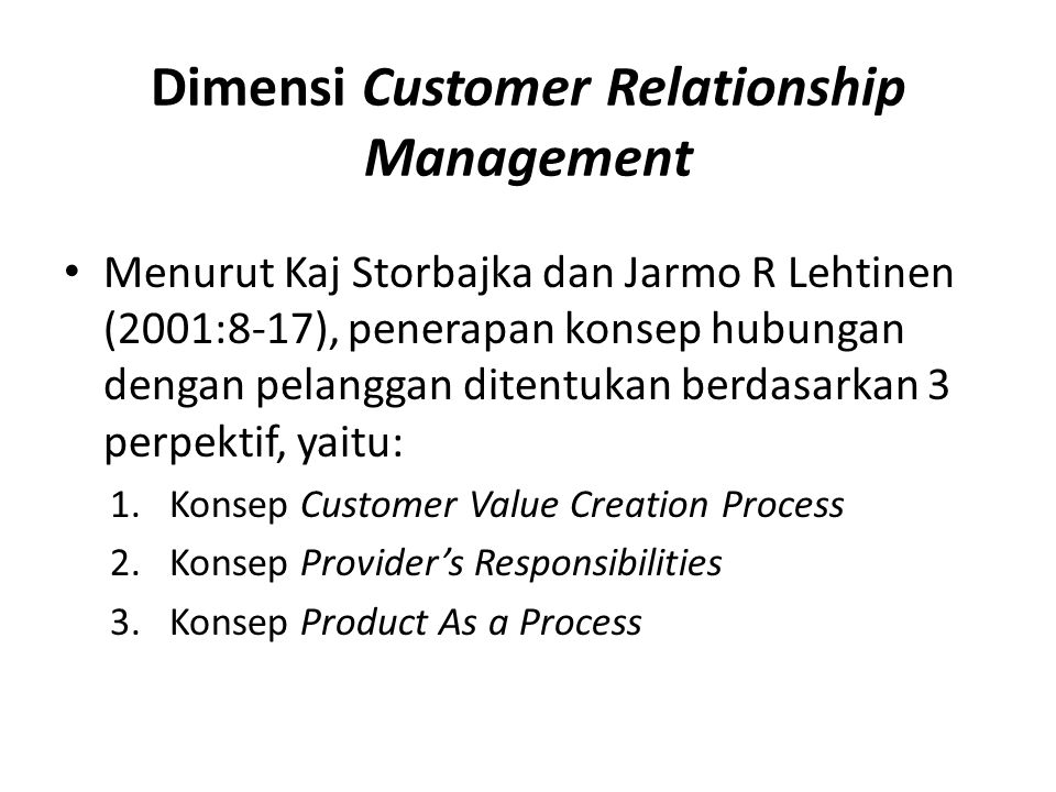 Dimensi Customer Relationship Management