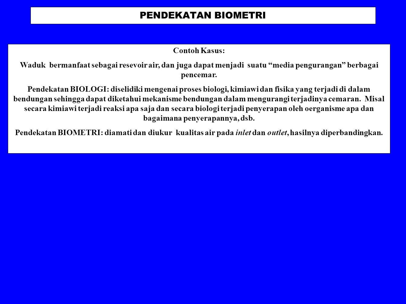 PENDEKATAN BIOMETRI Contoh Kasus: