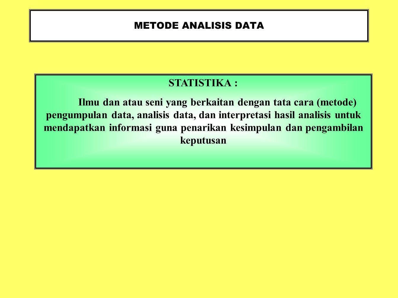 METODE ANALISIS DATA STATISTIKA :