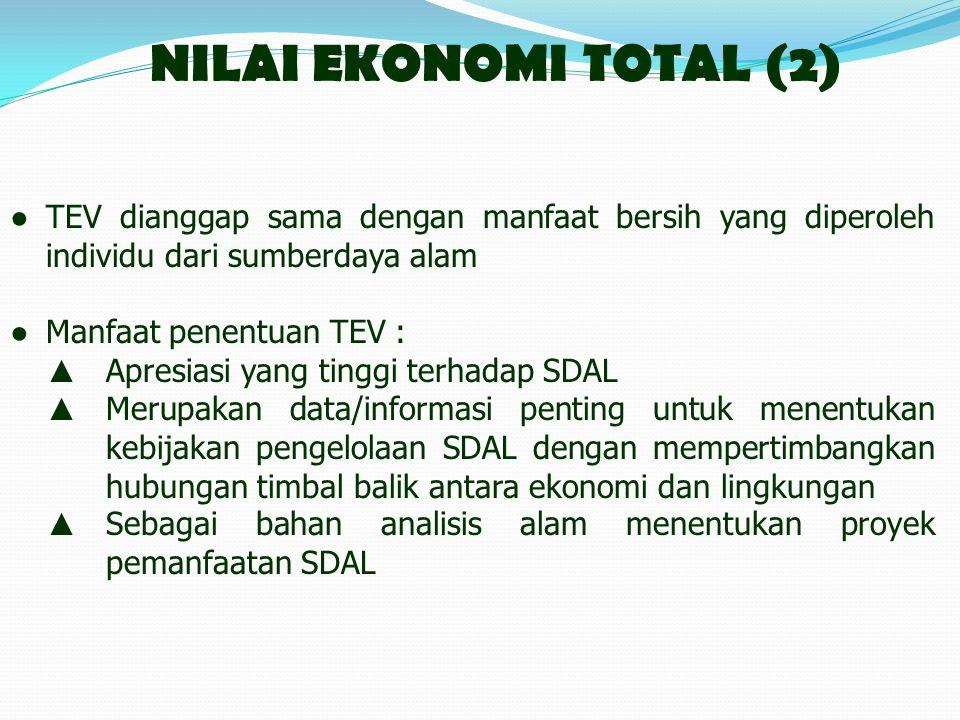 NILAI EKONOMI TOTAL (2) ● TEV dianggap sama dengan manfaat bersih yang diperoleh individu dari sumberdaya alam.