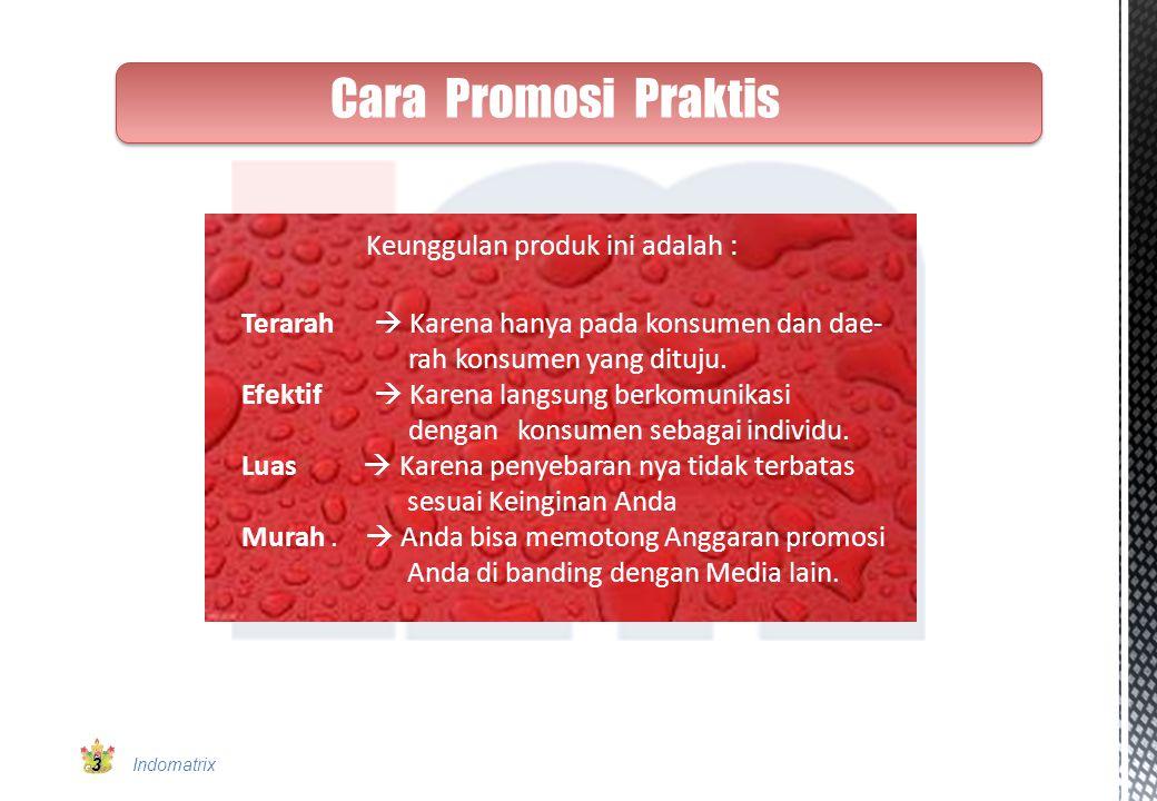 Cara Promosi Praktis Keunggulan produk ini adalah :