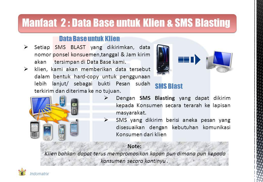 Manfaat 2 : Data Base untuk Klien & SMS Blasting