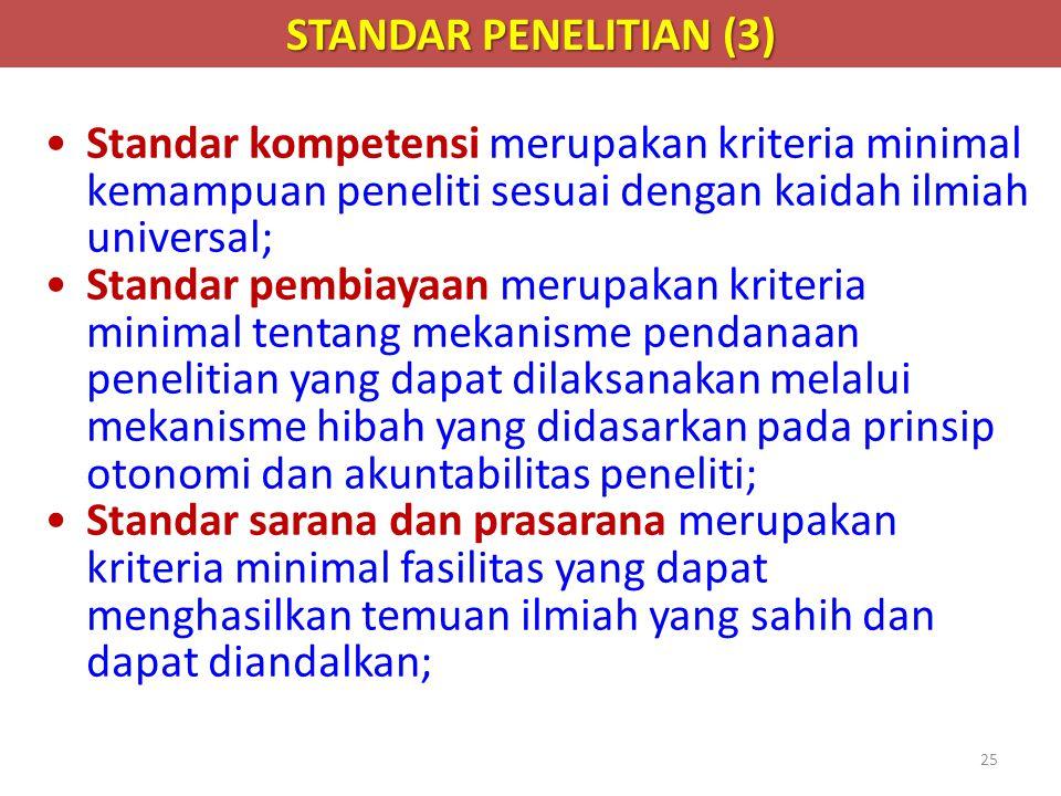 STANDAR PENELITIAN (3) Standar kompetensi merupakan kriteria minimal kemampuan peneliti sesuai dengan kaidah ilmiah universal;