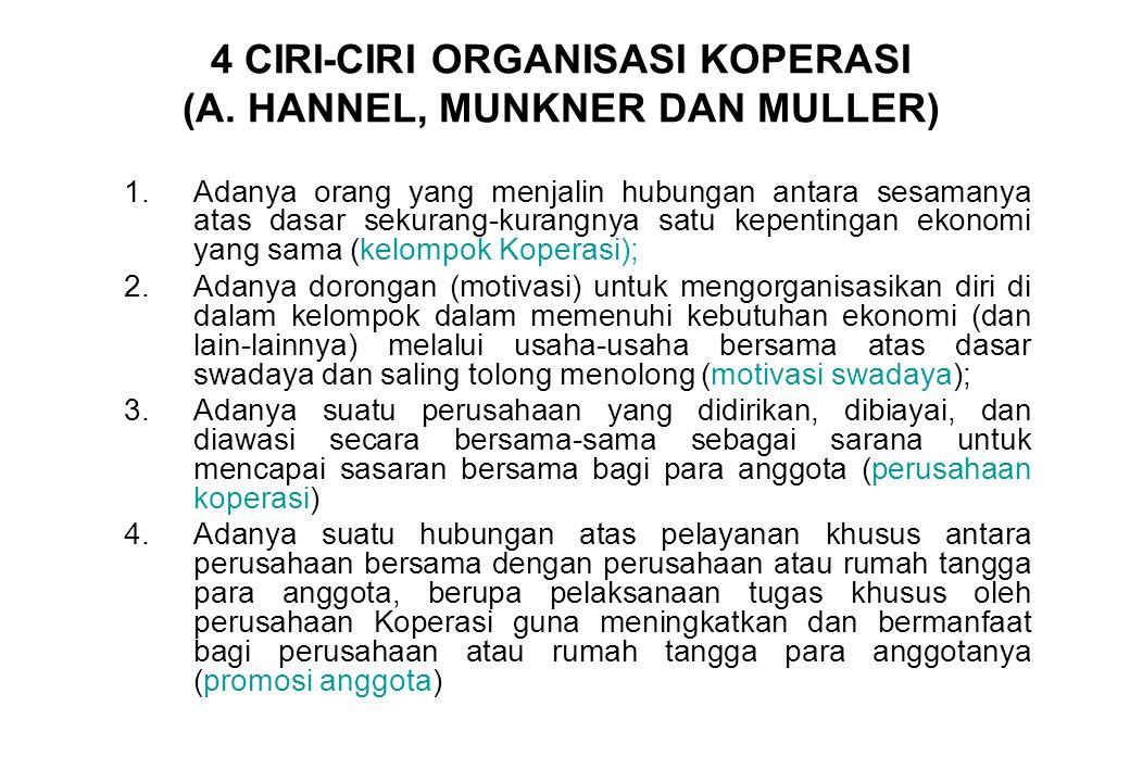 4 CIRI-CIRI ORGANISASI KOPERASI (A. HANNEL, MUNKNER DAN MULLER)