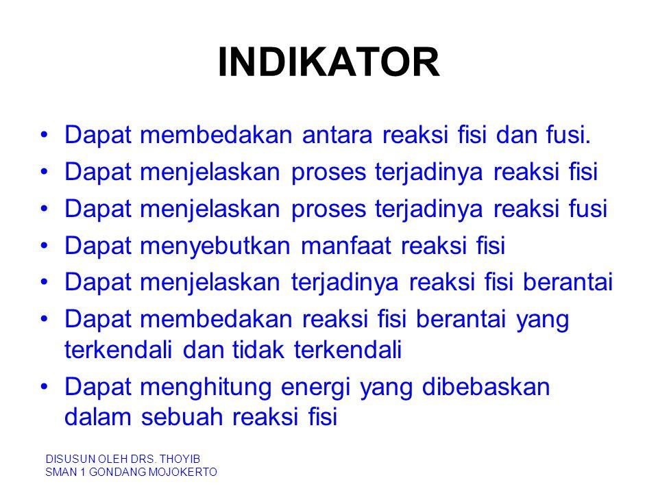 INDIKATOR Dapat membedakan antara reaksi fisi dan fusi.