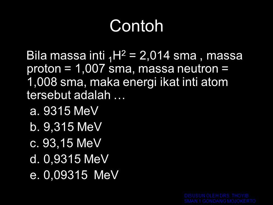 Contoh Bila massa inti 1H2 = 2,014 sma , massa proton = 1,007 sma, massa neutron = 1,008 sma, maka energi ikat inti atom tersebut adalah …