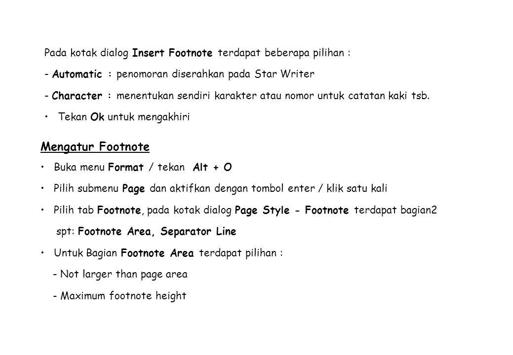 Pada kotak dialog Insert Footnote terdapat beberapa pilihan :