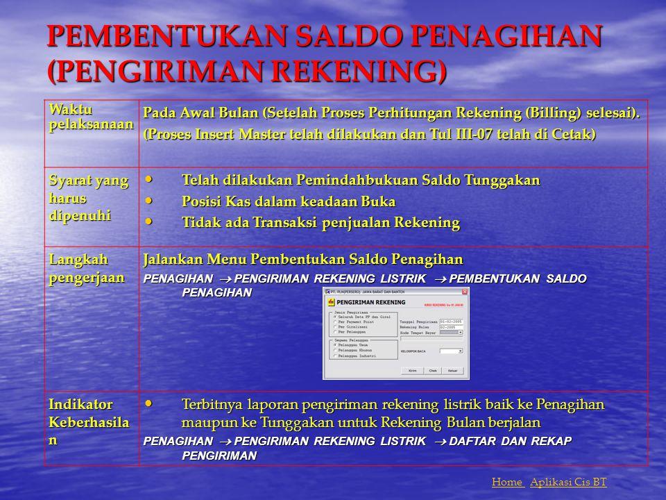 PEMBENTUKAN SALDO PENAGIHAN (PENGIRIMAN REKENING)