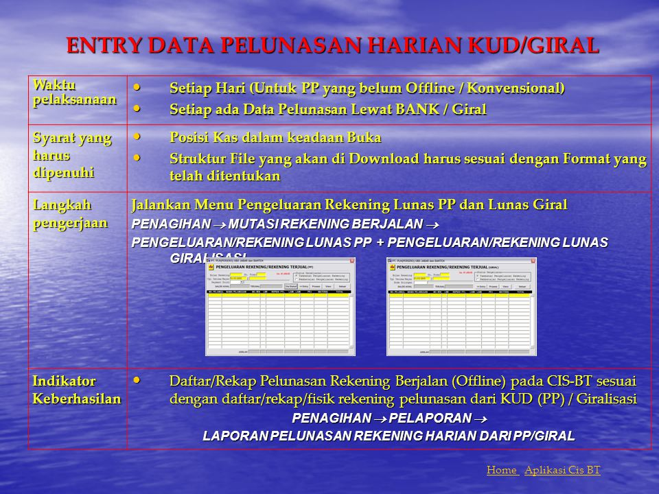 ENTRY DATA PELUNASAN HARIAN KUD/GIRAL