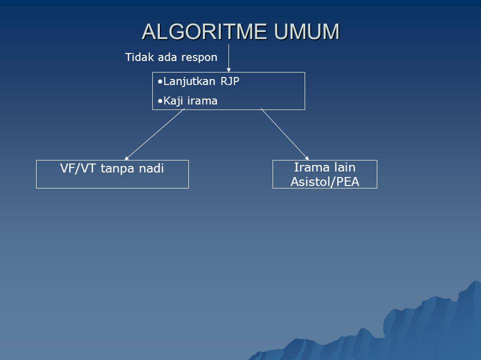 ALGORITME UMUM VF/VT tanpa nadi Irama lain Asistol/PEA