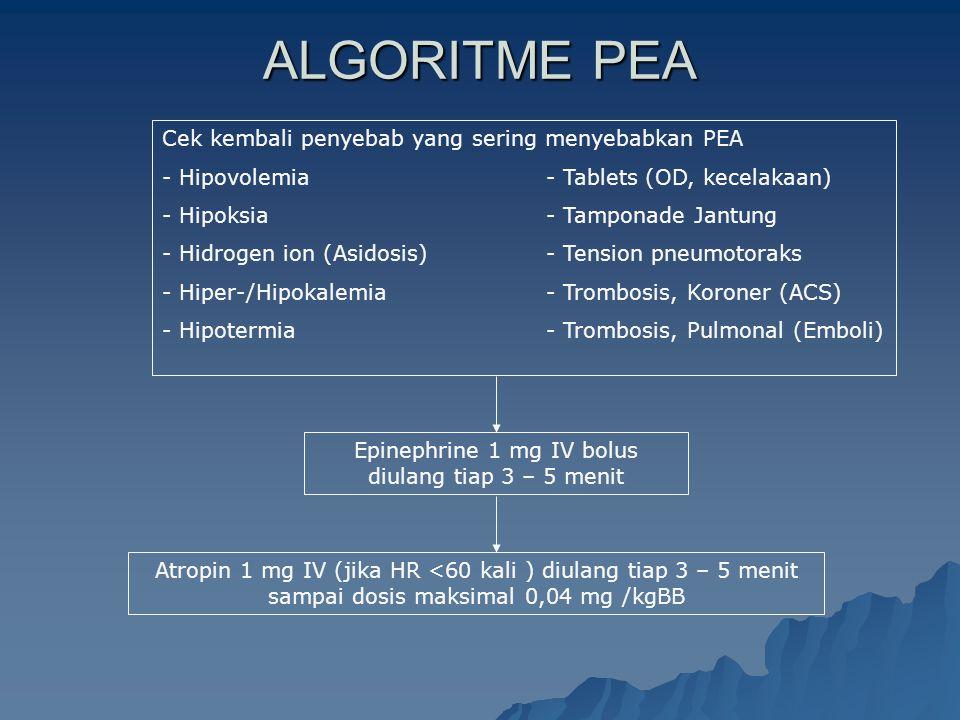 Epinephrine 1 mg IV bolus diulang tiap 3 – 5 menit