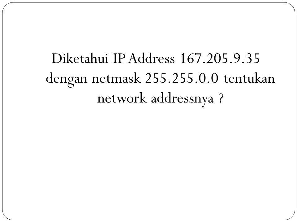 Diketahui IP Address 167. 205. 9. 35 dengan netmask 255. 255