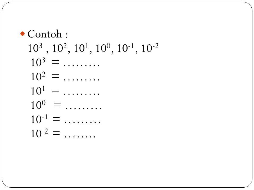 Contoh : 103 , 102, 101, 100, 10-1, 10-2. 103 = ……… 102 = ……… 101 = ……… 100 = ……… 10-1 = ………