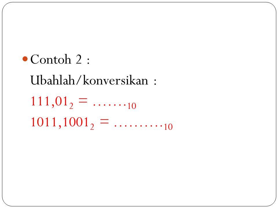 Contoh 2 : Ubahlah/konversikan : 111,012 = …….10 1011,10012 = ……….10