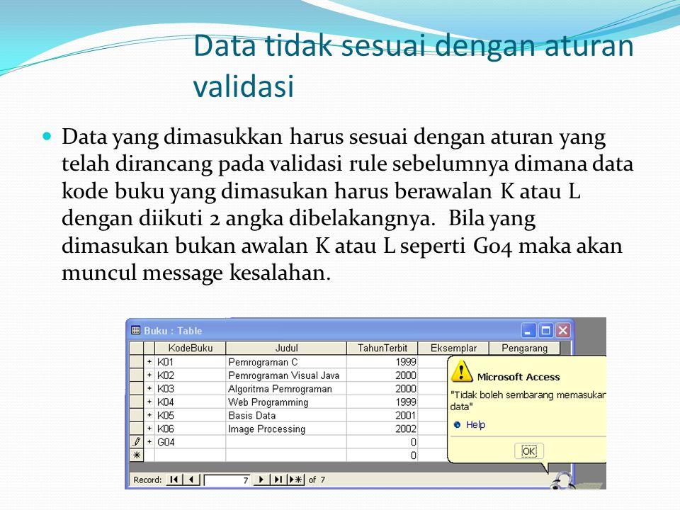 Data tidak sesuai dengan aturan validasi