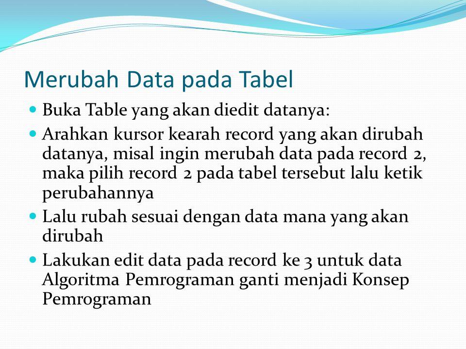 Merubah Data pada Tabel