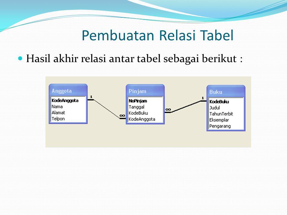 Pembuatan Relasi Tabel