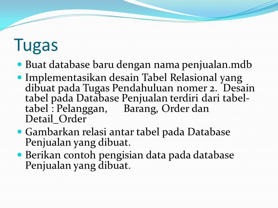 Tugas Buat database baru dengan nama penjualan.mdb