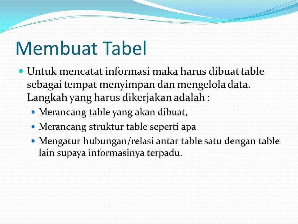 Membuat Tabel Untuk mencatat informasi maka harus dibuat table sebagai tempat menyimpan dan mengelola data. Langkah yang harus dikerjakan adalah :