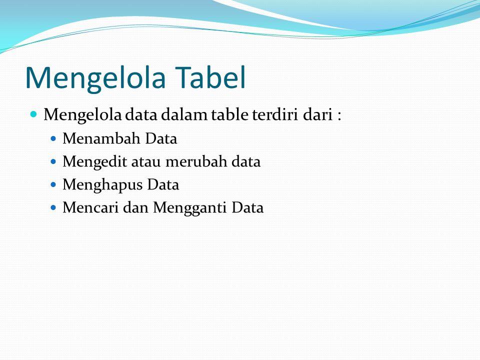 Mengelola Tabel Mengelola data dalam table terdiri dari :