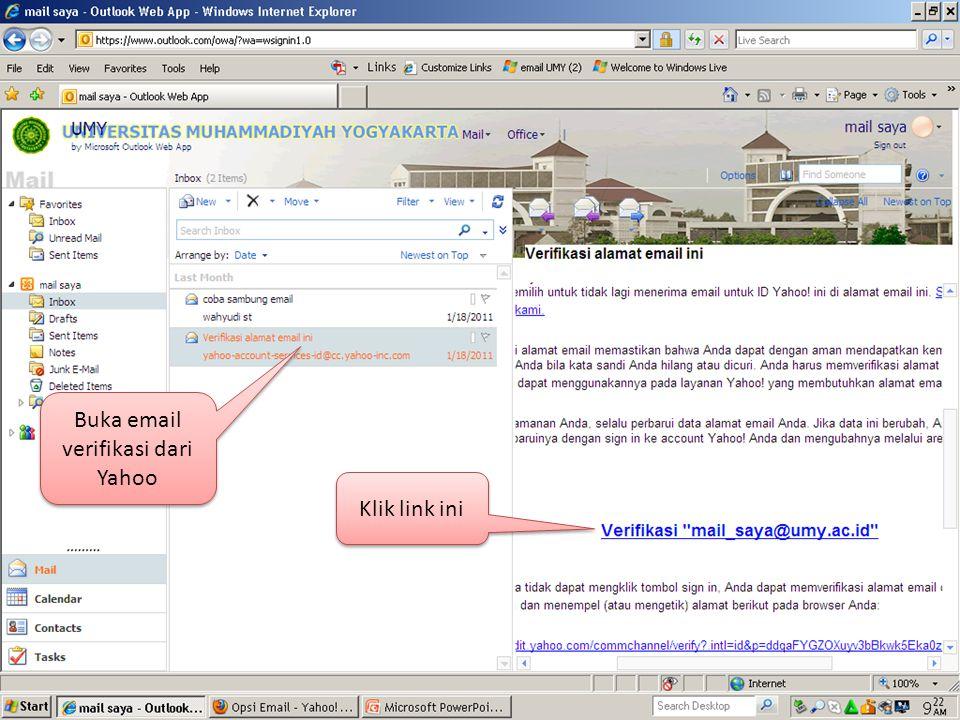 Buka email verifikasi dari Yahoo