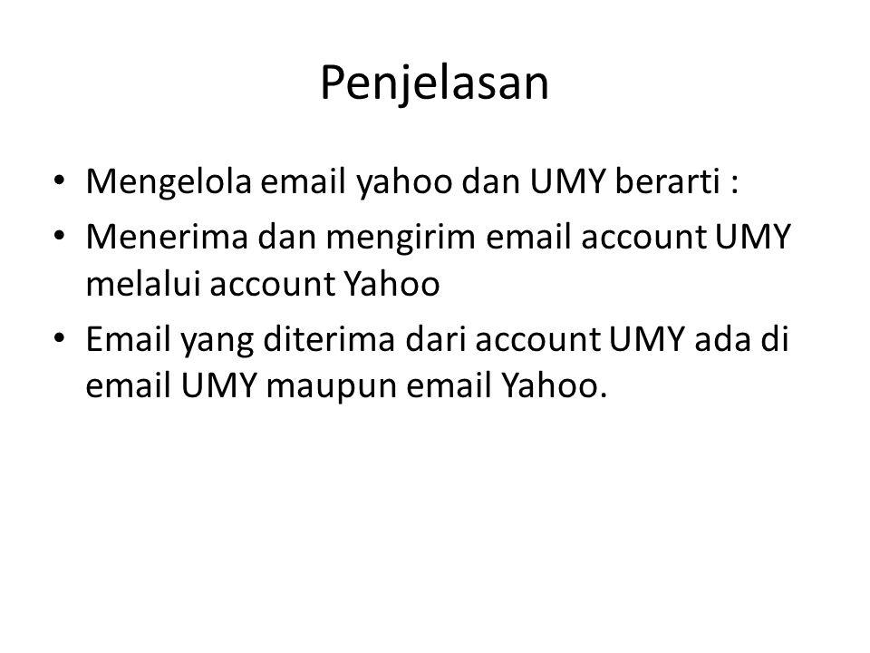 Penjelasan Mengelola email yahoo dan UMY berarti :