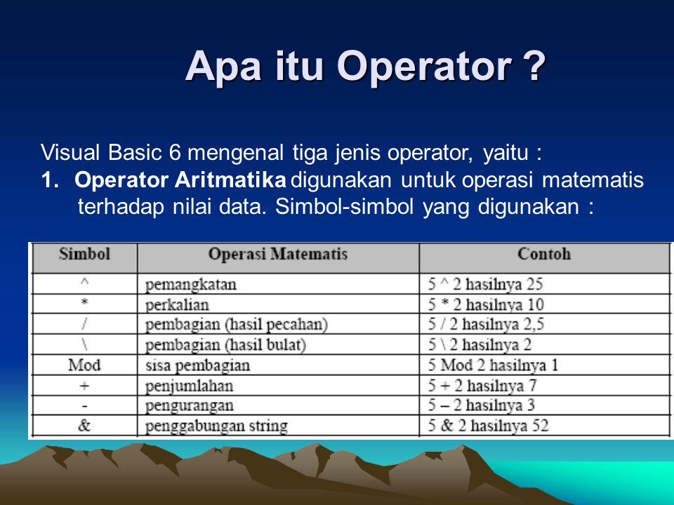 Apa itu Operator Visual Basic 6 mengenal tiga jenis operator, yaitu : Operator Aritmatika digunakan untuk operasi matematis.