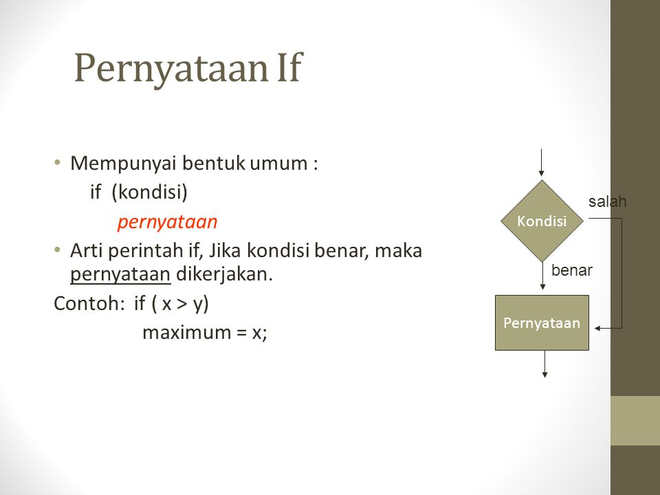 Pernyataan If Mempunyai bentuk umum : if (kondisi) pernyataan