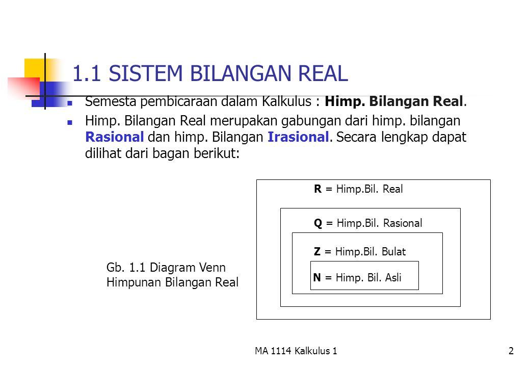 1.1 SISTEM BILANGAN REAL Semesta pembicaraan dalam Kalkulus : Himp. Bilangan Real.