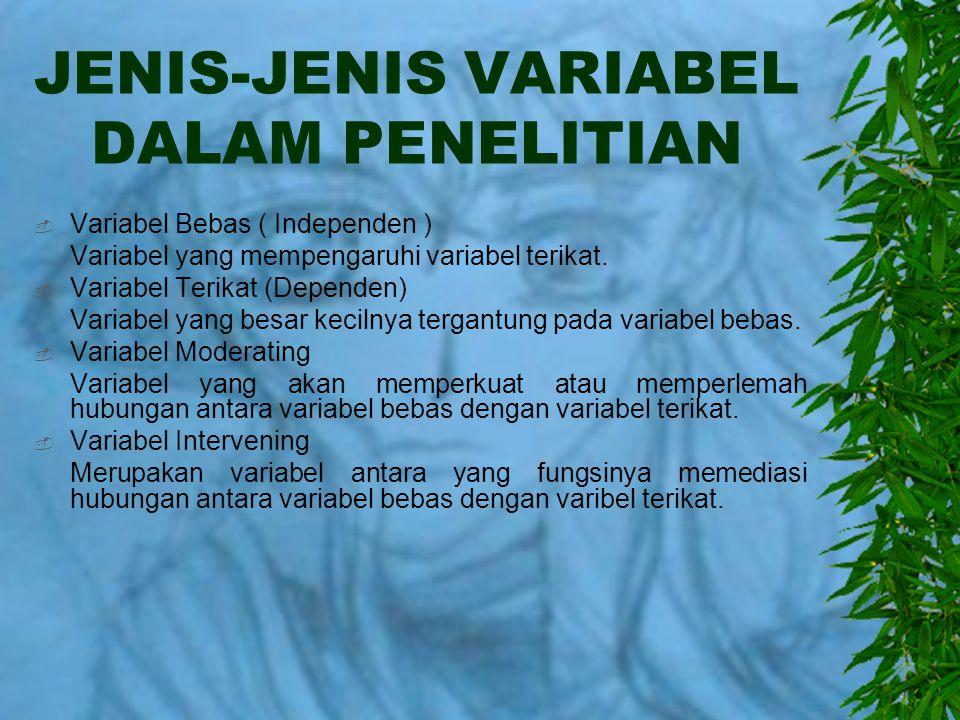 JENIS-JENIS VARIABEL DALAM PENELITIAN