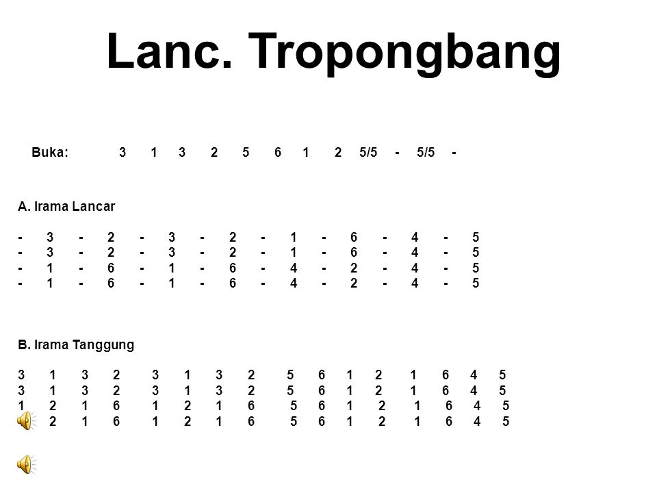 Lanc. Tropongbang Buka: 3 1 3 2 5 6 1 2 5/5 - 5/5 - A. Irama Lancar