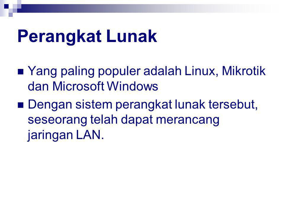 Perangkat Lunak Yang paling populer adalah Linux, Mikrotik dan Microsoft Windows.