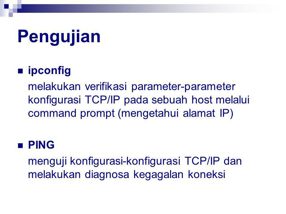 Pengujian ipconfig. melakukan verifikasi parameter-parameter konfigurasi TCP/IP pada sebuah host melalui command prompt (mengetahui alamat IP)