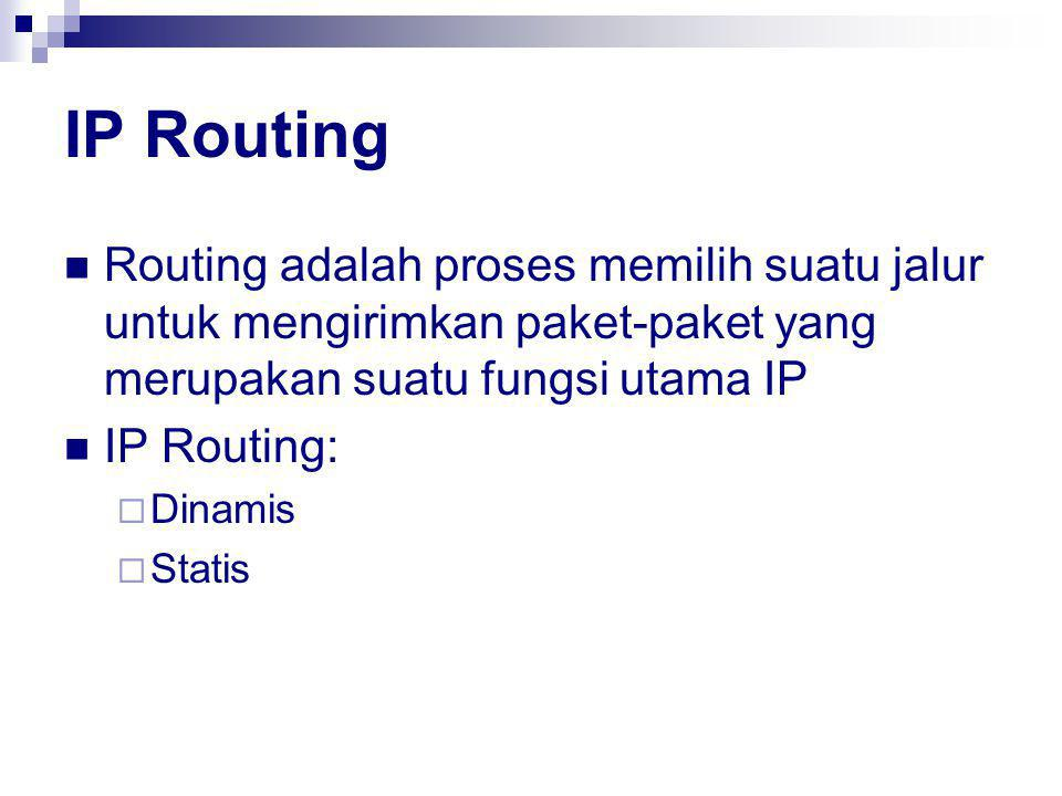 IP Routing Routing adalah proses memilih suatu jalur untuk mengirimkan paket-paket yang merupakan suatu fungsi utama IP.