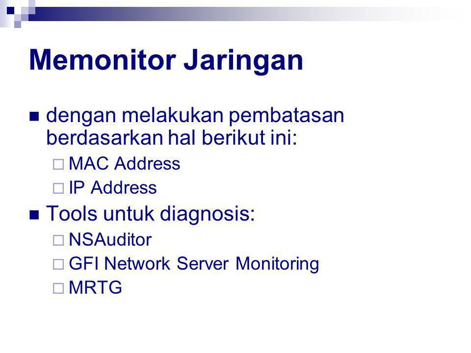 Memonitor Jaringan dengan melakukan pembatasan berdasarkan hal berikut ini: MAC Address. IP Address.