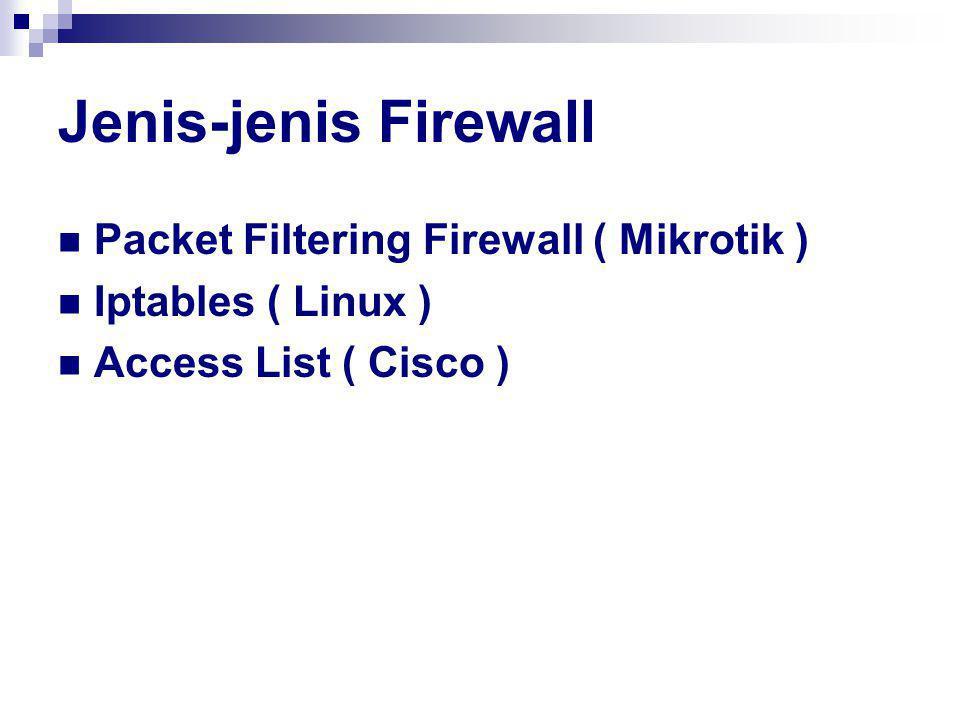 Jenis-jenis Firewall Packet Filtering Firewall ( Mikrotik )