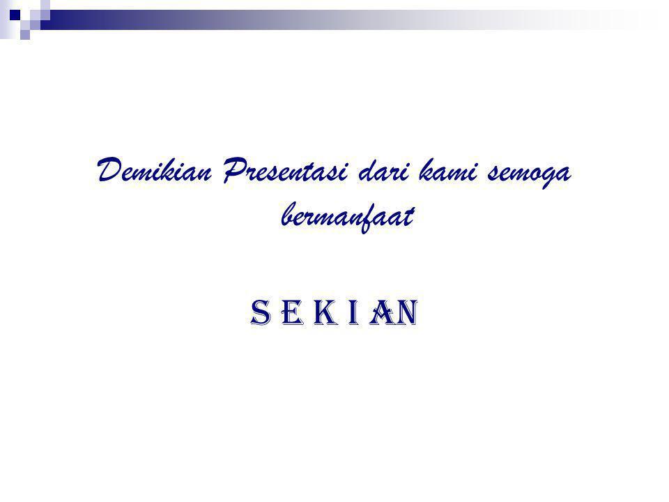 Demikian Presentasi dari kami semoga bermanfaat S E K I AN