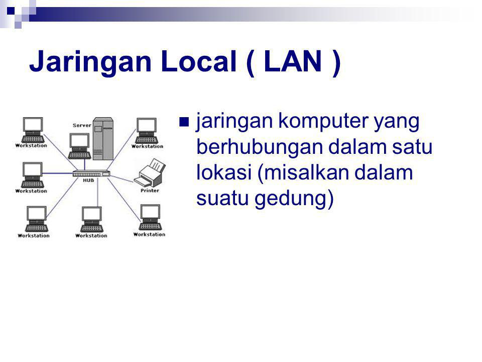 Jaringan Local ( LAN ) jaringan komputer yang berhubungan dalam satu lokasi (misalkan dalam suatu gedung)