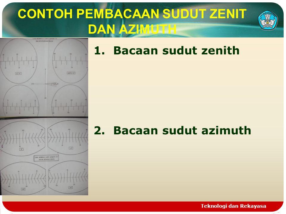 CONTOH PEMBACAAN SUDUT ZENIT DAN AZIMUTH